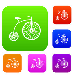 penny-farthing set collection vector image