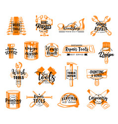 repair tools icons with lettering vector image