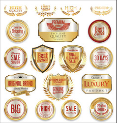 sale retro vintage golden badges and labels 06 vector image