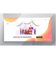 santa greeting kids website landing page santa vector image