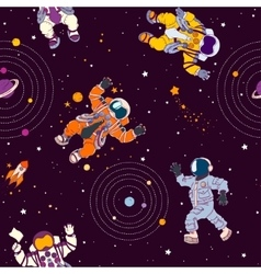 Seamless pattern with astronauts constellations vector