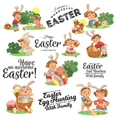 set happy kids in bunny costume with ears vector image
