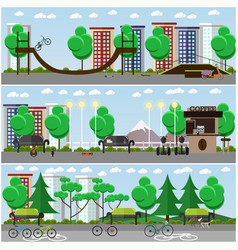 set of transport posters banners in flat vector image