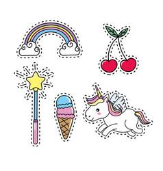 Set unicorn with rainbow and cloud design vector