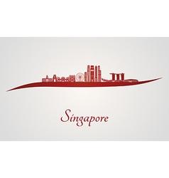 Singapore v2 skyline in red vector
