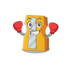 Sporty boxing pencil sharpener mascot character vector