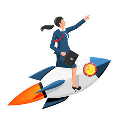 successful businesswoman flying on rocket vector image