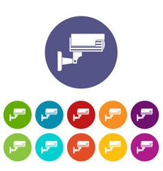 Surveillance camera set icons vector