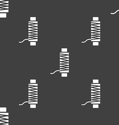 Thread Icon sign Seamless pattern on a gray vector image