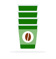 Tower disposable cups flat isolated vector