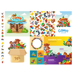 Toys cartoon collection funny games for children vector