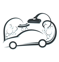 washing and cleaning car symbol vector image