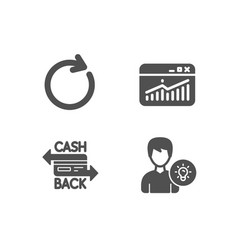 website statistics synchronize and cashback card vector image