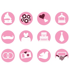 Wedding icons in retro style isolated on white vector image