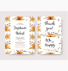 Wedding invitation invite thank you card vector