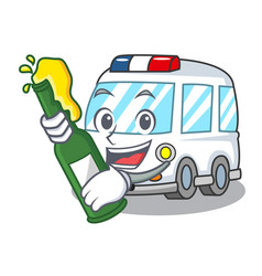 with beer ambulance mascot cartoon style vector image