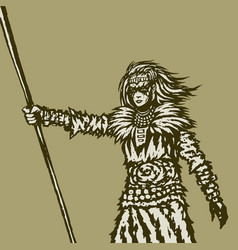 Woman warrior holds a spear in her right vector