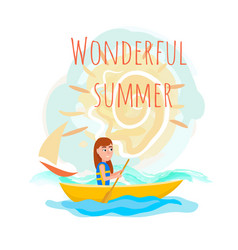 wonderful summer poster with girl kayaking vector image