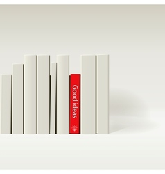 Red book in row of white book vector image