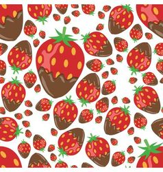 strawberry in chocolate seamless pattern vector image