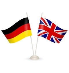 Table stand with flags of England and Germany vector image