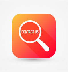contact us word magnifying glass vector image