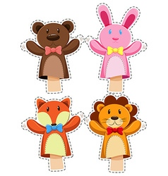 Sticker set with hand puppets vector image