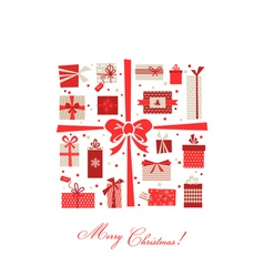 Vintage christmas gifts postcard vector