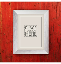 white wooden frame on red wooden wall vector image vector image
