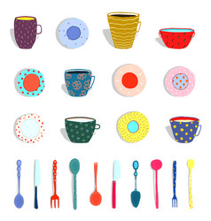 cups mugs plates dishes silverware collection vector image vector image