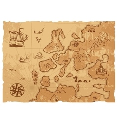 Old vintage retro ancient map antique geography vector image
