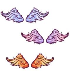 set of cartoon beautiful wings vector image