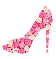 Shoe from roses vector image