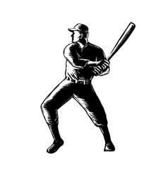 baseball player batting woodcut black and white vector image vector image