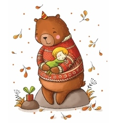 Brown teddy bear hugging a girl vector image vector image