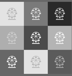 ferris wheel sign grayscale version of vector image vector image