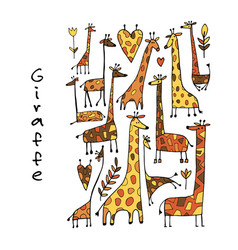 giraffes collection sketch for your design vector image