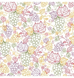 Line art grape vines seamless pattern background vector image