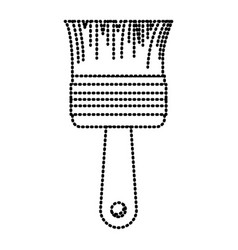 paint brush icon monochrome dotted silhouette vector image