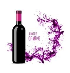 Red wine splash with bottle vector image vector image