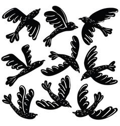 set of cute black birds vinil stickers vector image vector image