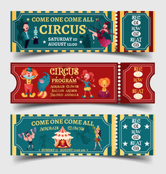 set of isolated circus entertaining show tickets vector image