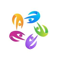 Teamwork fitness logo vector image