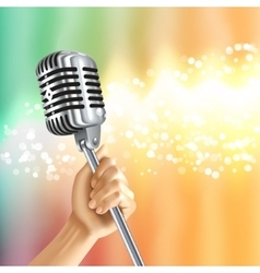 Vintage Microphone Light Background Poster vector image vector image