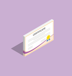 3d isometric certificate flat with violet vector image