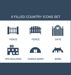 6 country icons vector