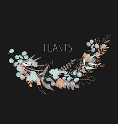 abstract floral on dark vector image