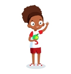 African American school girl cartoon vector image