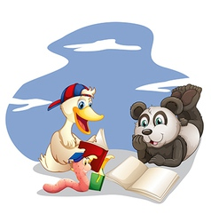 Animals reading books vector image