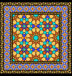 Arabic stained glass ornament vector